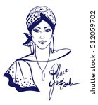 stylish woman with turban... | Shutterstock .eps vector #512059702
