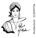 stylish woman with turban... | Shutterstock .eps vector #512059726