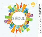 seoul skyline with color... | Shutterstock .eps vector #512060326