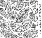 Seamless indian paisley pattern. Black and white illustration for coloring book.