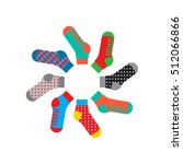 flat design colorful socks set... | Shutterstock .eps vector #512066866