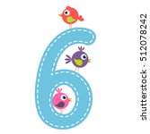 the number six with birds   Shutterstock .eps vector #512078242