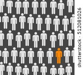 one isolated person in a crowd... | Shutterstock .eps vector #512081026