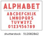 alphabet letter red. font and... | Shutterstock .eps vector #512082862