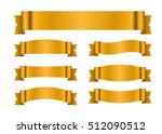 ribbon gold banners set. sign... | Shutterstock .eps vector #512090512