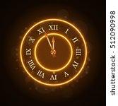 gold christmas magic clock... | Shutterstock .eps vector #512090998