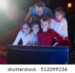 at home by night  cheerful...   Shutterstock . vector #512099236