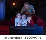 at home by night  cheerful... | Shutterstock . vector #512099746