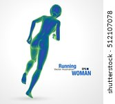 3d running woman  blue colored .... | Shutterstock .eps vector #512107078