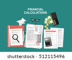financial calculations. working ... | Shutterstock .eps vector #512115496