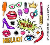 fashion pop art patches set... | Shutterstock .eps vector #512118922