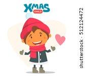 cheerful child. winter...   Shutterstock .eps vector #512124472