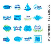 water retro labels set of blue... | Shutterstock .eps vector #512128702