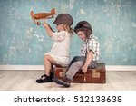 happy kids playing with vintage ... | Shutterstock . vector #512138638