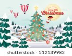 snow village with christmas... | Shutterstock .eps vector #512139982