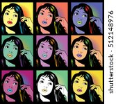 collection of colorful pop art...   Shutterstock .eps vector #512148976