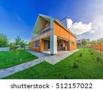beautiful wooden house with a... | Shutterstock . vector #512157022