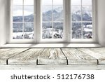 wooden table and window of... | Shutterstock . vector #512176738
