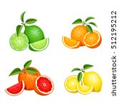 vector set of citrus fruits ... | Shutterstock .eps vector #512195212