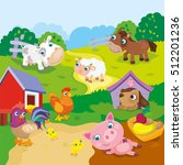 cartoon cute farm animals | Shutterstock .eps vector #512201236