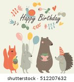 birthday card with cute... | Shutterstock .eps vector #512207632