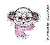 Stock vector portrait of a cat with scarf and glasses hipster hand drawn isolated on white vector illustration 512209285