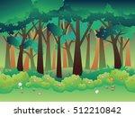 cartoon summer forest landscape ... | Shutterstock .eps vector #512210842