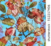vintage flowers seamless... | Shutterstock .eps vector #512217406
