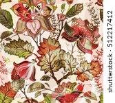 vintage flowers seamless... | Shutterstock .eps vector #512217412