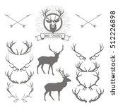 set of deers  silhouette  deer... | Shutterstock .eps vector #512226898