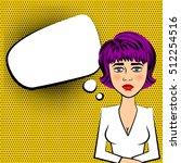 sad beautiful woman with purple ...   Shutterstock .eps vector #512254516
