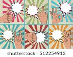 hand sign comic text retro pop... | Shutterstock .eps vector #512254912