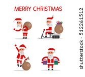 merry christmas. santa set.... | Shutterstock .eps vector #512261512