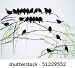 Silhouettes Of Birds Sitting O...