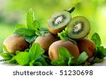 Kiwis and aromatic herbs. - stock photo