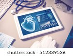 white tablet pc and doctor... | Shutterstock . vector #512339536