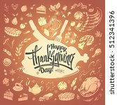 postcard happy thanksgiving ... | Shutterstock .eps vector #512341396