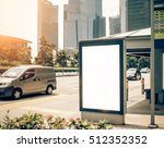 bus station with blank... | Shutterstock . vector #512352352