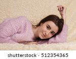 young beautiful woman lying on... | Shutterstock . vector #512354365