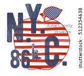 t shirt typography design  nyc... | Shutterstock .eps vector #512354638