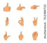 gestural icons set. cartoon... | Shutterstock .eps vector #512384722