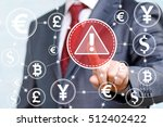 Small photo of Businessman touched attention icon on touch screen on background of network currency. Attention mark with triangle finance banking stock trading sign. Web exchange money concept, internet, crypto.