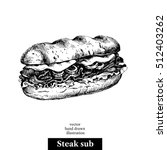 Hand Drawn Sketch Steak Sub...