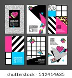 memphis cards with geometric... | Shutterstock .eps vector #512414635