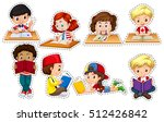 boys and girls reading books... | Shutterstock .eps vector #512426842