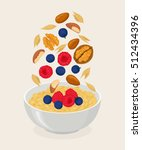 porridge bowl with oatmeal... | Shutterstock .eps vector #512434396