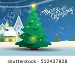 winter landscape with christmas ... | Shutterstock .eps vector #512437828
