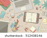 illustrated workplace... | Shutterstock .eps vector #512438146