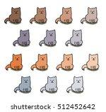 pattern cute different cat... | Shutterstock .eps vector #512452642