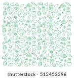 green patterns food coffee beer ... | Shutterstock .eps vector #512453296